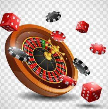 Ett rouletthjul med tärningar och spelmarker.